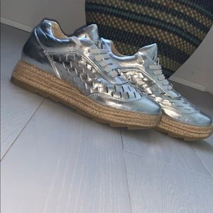 📌 Stella McCartney Silver Espadrille Shoes